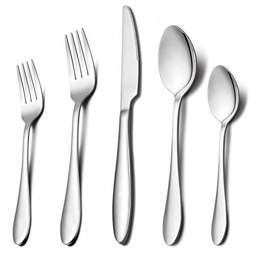 HaWare Stainless Steel Modern Elegant Flatware Cutlery Set Dishwasher Safe Mirror Polished Dinner Knives//Spoons//Forks 30-Piece Silverware Set Service for 6