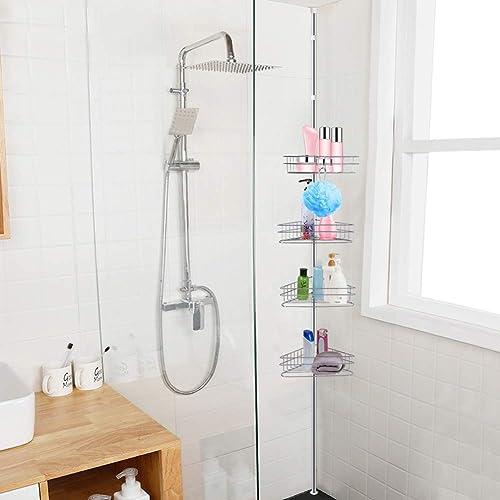 Bathroom Organisers Caddies 4tier Shower Caddy Telescopic Bathroom Corner Shelf Pole Rack System Organiser Home Furniture Diy Cruzeirista Com Br