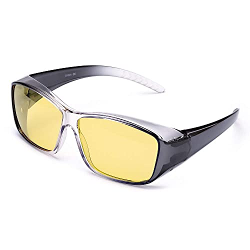 59ec54e85acb IGnaef Fit Over Rectangular Glasses with Clip Holder Wrap Around Night  Driving HD Polarized Glasses