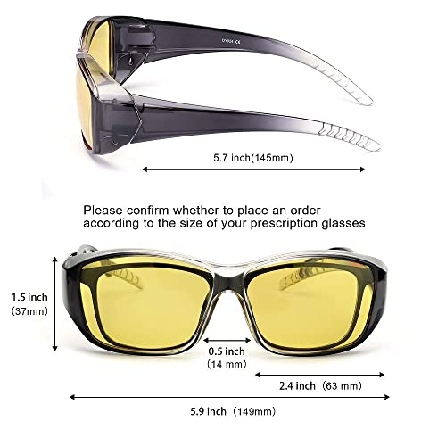 99329e925b82 PrevNext. PrevNext. IGnaef Fit Over Rectangular Glasses with Clip Holder  Wrap Around Night Driving HD Polarized Glasses