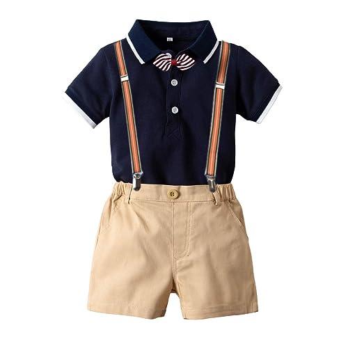 Toddler Baby Boy Gentleman Outfit Bowtie Romper Shirt+Suspender Pants Shorts Set