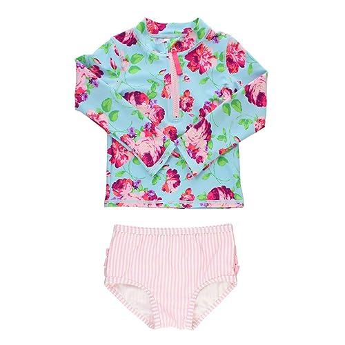 3ea50f859 RuffleButts Little Girls Long Sleeve Rash Guard 2 Piece Swimsuit Set w/UPF  50+