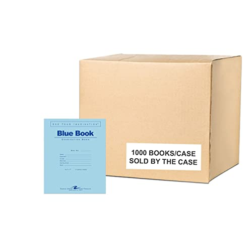 Heavy Blue Cover 12 sheets//24 pages of 15# Smooth White Paper Case of 300 Exam Books 11x8.5 Wide Ruled W//Margin Stapled