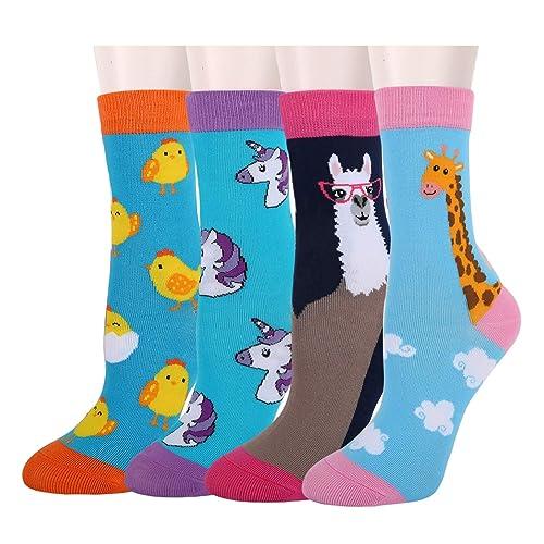 Girls Novelty Unicorn Llama Funny Cartoon Animals Casual Crew Socks 4 Pack