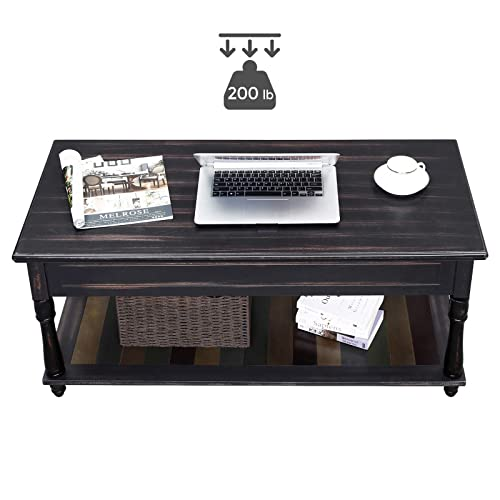 Buy Vasagle Lift Top Coffee Table With Turned Real Wood Legs And