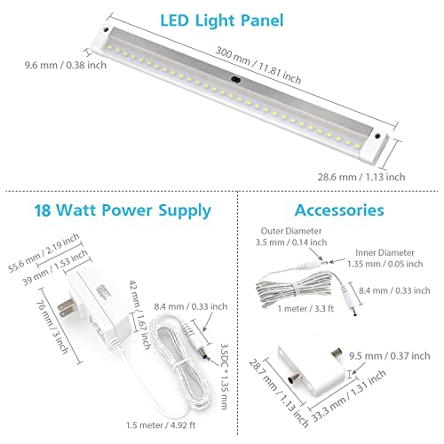 Touchless Dimming Control EShine 6 Panels 12 inch LED Dimmable Under Cabinet Lighting Kit Hand Wave Activated Cool White 6000K