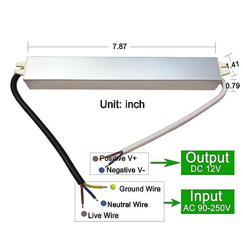 CNBRIGHTER Waterproof 12V DC Transformer,110V-220V AC to 12V DC Power Supply,5A Constant Voltage LED Driver,Adapter for LED Outdoor Landscape Lighting//Strip Lights//Module 60 W