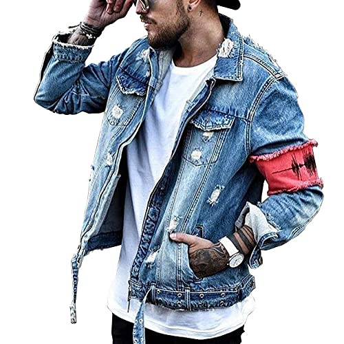 fb6b50fadaf iooho Men's Denim Jacket Ripped Distressed Jeans Jacket Rugged Trucker  Jacket for Man