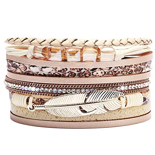 2665fd7399d ANGELFLY Leather Wrap Boho Multilayer Wide Cuff Feather Handmade Wristbands  Wrist Braided Magnetic Buckle Casual Bangle