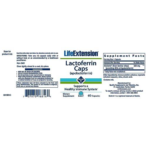 Buy Life Extension Lactoferrin (apolactoferrin) 300 Mg, 60 Capsules