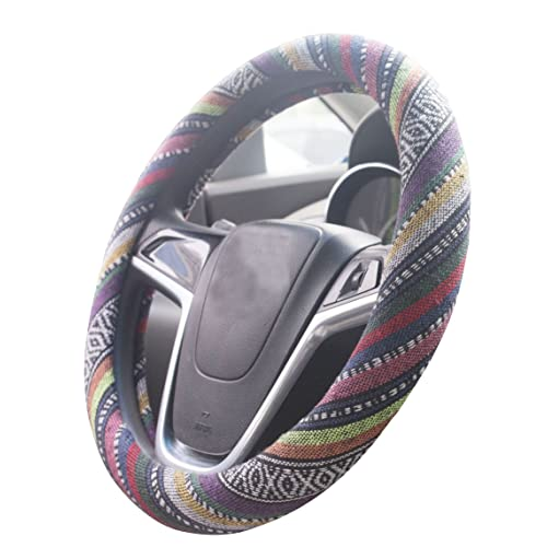 ISTN 2018 Large Ethnic Style Coarse Flax Cloth Automotive Steering Wheel Cover Anti Slip Sweat Absorption Auto Car Wrap Cover 15.25-16, F