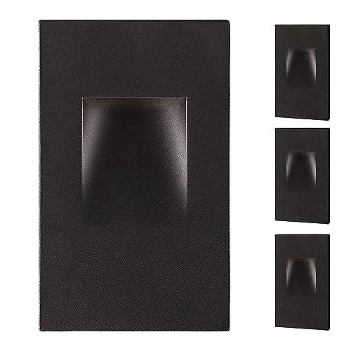 Warm Light Dimmable 3 Watt Horizontal Stairway Light 3000 K Black Finish ETL Listed OSTWIN LED Step Light Indoor//Outdoor Stair Light Fixture 100 LM